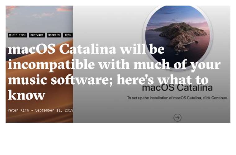 MacOS Catalina – inkompatibilität mit DAW´s