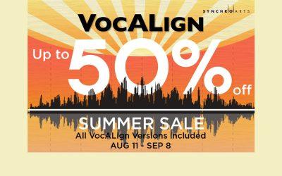 "SynchroArts ""VocAlign"" summer sale"