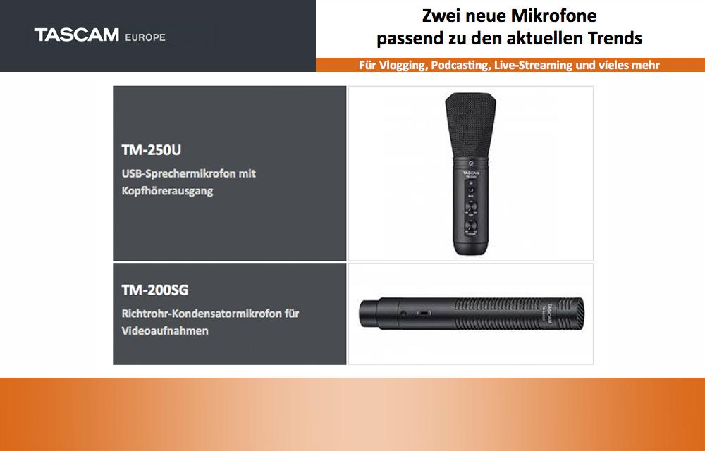 Neu: Tascam veröffentlicht zwei neue Mikrofone